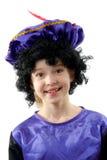 Menina vestida como Pete preto Fotografia de Stock Royalty Free