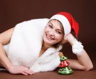 A menina vestiu-se como Santa fotografia de stock royalty free