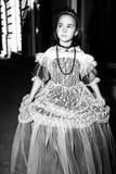 A menina vestiu-se no vestido do vintage Imagens de Stock Royalty Free