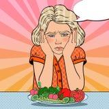 Menina virada com a placa de legumes frescos Comer saudável Ilustração retro do pop art ilustração stock