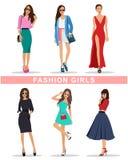 Meninas à moda da forma com acessórios A roupa das mulheres da forma Meninas bonitas ajustadas ilustração stock