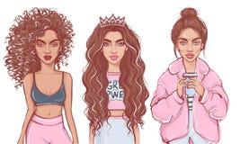 Meninas à moda na roupa da forma Menina bonita tirada mão Mulheres da forma ilustração stock