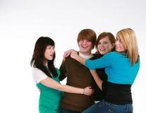 Meninas adolescentes e menino adolescente Imagem de Stock