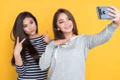 Meninas adolescentes que tomam o selfie Imagem de Stock