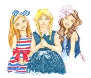 Meninas amiga, desenho da mão ilustração do vetor