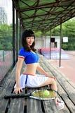 Meninas asiáticas que jogam o tênis Fotos de Stock Royalty Free