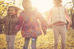 Meninas ativas Miúdos na natureza Foto de Stock Royalty Free