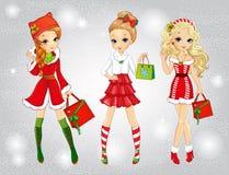 Meninas bonitas com sacos do Natal Ilustração Royalty Free