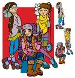 Meninas bonitas dos desenhos animados Imagens de Stock Royalty Free