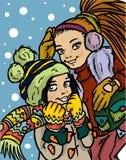 Meninas bonitas dos desenhos animados Fotografia de Stock