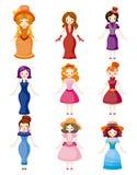 Meninas bonitas medievais dos desenhos animados ilustração royalty free