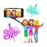 Meninas bonitas que fazem o autorretrato Ilustração do vetor Foto de Stock
