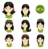 Meninas bonitos com cabelo escuro e vário penteado ilustração royalty free
