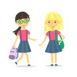Meninas bonitos da escola com trouxa da escola Ilustração do vetor ilustração royalty free