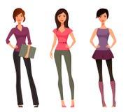 Meninas bonitos dos desenhos animados Imagens de Stock Royalty Free