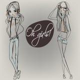 Meninas bonitos dos desenhos animados Imagens de Stock