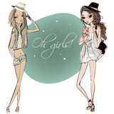 Meninas bonitos dos desenhos animados Foto de Stock Royalty Free
