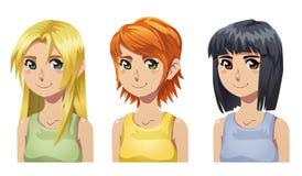 Meninas bonitos dos desenhos animados do vetor Foto de Stock