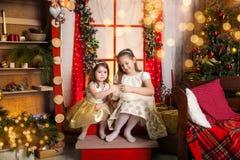Meninas bonitos que guardam um cachorrinho de Labrador imagens de stock royalty free