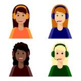 4 meninas, centro de atendimento ilustração do vetor
