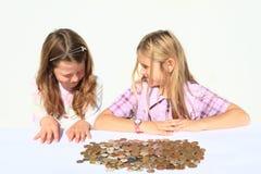 Meninas com dinheiro Foto de Stock