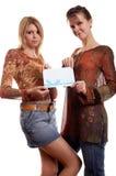 Meninas com envelope fotografia de stock