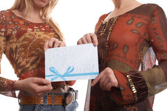 Meninas com envelope imagem de stock royalty free