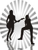 Meninas com guitarra ilustração stock