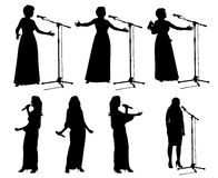 Meninas com microphone_2 Fotografia de Stock