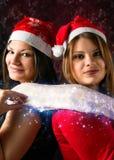Meninas com Natal do lenço Imagens de Stock Royalty Free