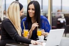 Meninas com portátil Imagem de Stock