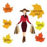 Meninas com sacos de compras, venda do outono Foto de Stock Royalty Free