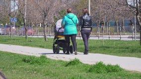 Meninas com uma caminhada do transporte de bebê no parque vídeos de arquivo