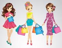 Meninas da beleza com sacos de compras Imagens de Stock Royalty Free
