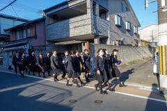 Meninas da escola em Kyoto imagens de stock royalty free