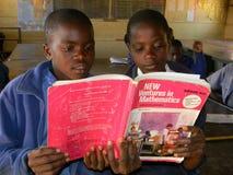 Meninas da escola primária que leem o livro de texto da matemática na classe Imagem de Stock