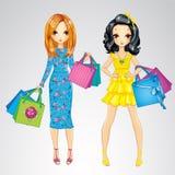 Meninas da forma com sacos de compras Ilustração Royalty Free