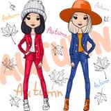 Meninas da forma do vetor na roupa do outono ilustração stock