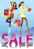 Meninas da forma na campanha de venda Imagens de Stock