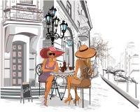 Meninas da forma no café da rua ilustração royalty free