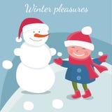 meninas da garatuja dos desenhos animados no inverno Vetor Imagem de Stock