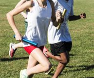 Meninas da High School que competem um relé em um campo de grama Fotografia de Stock
