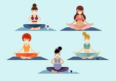 Meninas da ioga ilustração royalty free