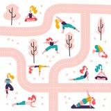 Meninas da ioga em um fundo branco do teste padr?o sem emenda do parque Povos que fazem as atividades e os esportes exteriores en ilustração royalty free