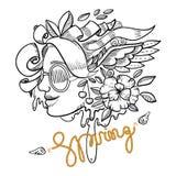 Meninas da mola da ilustração da forma nas flores Imagens de Stock Royalty Free