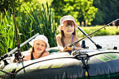Meninas da pesca Foto de Stock Royalty Free
