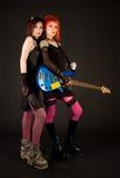 Meninas da rocha com guitarra baixa Fotografia de Stock