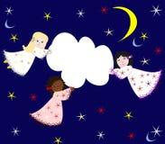 Meninas das raças diferentes que voam através do céu com uma nuvem Fotos de Stock