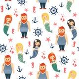 Meninas das sereias com marinheiro, âncora, teste padrão sem emenda da estrela do mar no fundo branco Fotos de Stock Royalty Free