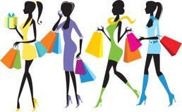 Meninas de compra ilustração do vetor